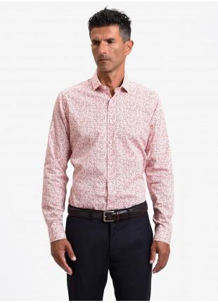 Camicia uomo John Barritt, vestibilita slim, in cotone stretch stampato con fantasia a fiori, collo mezzo francese, colore arancione. Composizione 97% cotone 3% elastan. Rosa