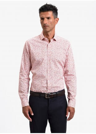 John Barritt man shirt, slim fit, printed stretch cotton fabric with floral print, half french collar, color orange. Composition 97% cotton 3% elastane. Rose