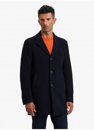 John Barritt man coat, full body lining, slim fit, front closure with 3 buttons, jersey fabric with micro design. Color blue. Composition 46% polyester 46% wool 4% polyamide 4% cashmere. Blue