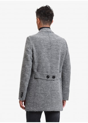 John Barritt man coat, without lining, slim fit, front closure with 3 buttons, martingale with buttons on back. Fabric with micro design, color blue. Composition 35% cotton 27% wool 12% polyester 10% acrylic 8% polyamide. Light Grey Melange