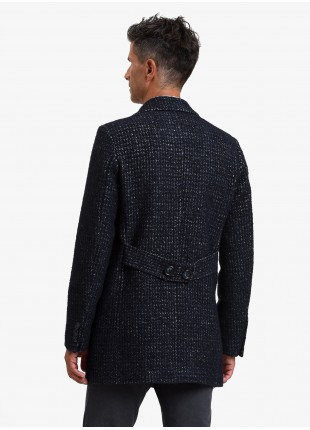 John Barritt man coat, without lining, slim fit, front closure with 3 buttons, martingale with buttons on back. Fabric with micro design, color blue. Composition 35% cotton 27% wool 12% polyester 10% acrylic 8% polyamide. Blue