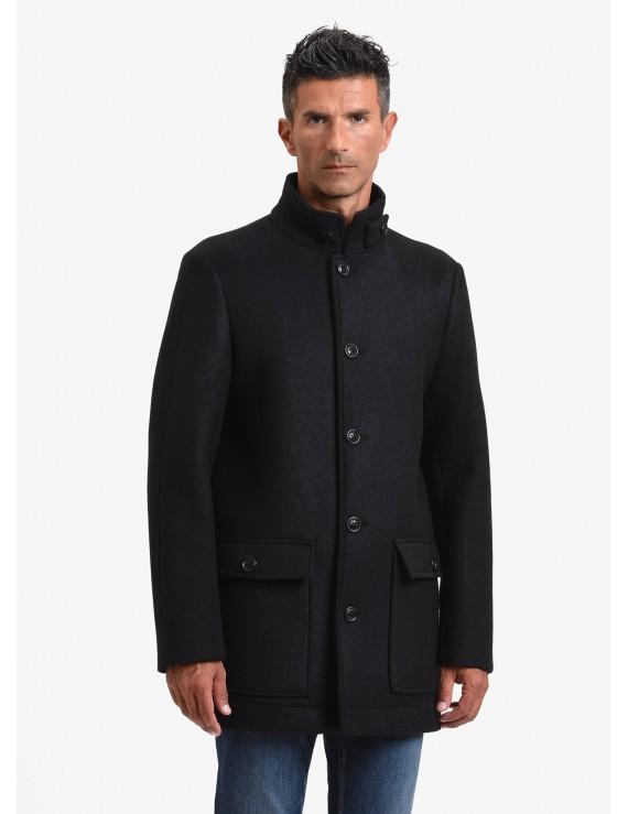 timeless design 7cc1f ab8ca Cappotto uomo John Barritt, sfoderato, vestibilita slim, chiusura a 4  bottoni, collo a fascetta, uno spacco. Tessuto di misto lana accoppiato,  colore ...