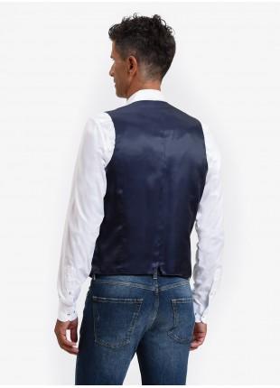 John Barritt man vest, slim fit, flap pockets, wool/linen fabric. Color light blue. Composition 46% wool 38% linen 16% polyester. Bluette