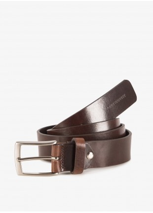 John Barritt man belt, adjustable, height 3,5 cm, in vintage leather, color brown. Satin nikel metal buckle. Composition 100% lamb leather. Light Brown
