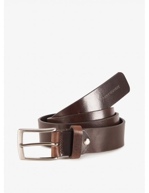 John Barritt man belt, adjustable, height 3,5 cm, in vintage leather, color brown. Satin nikel metal buckle. Composition 100% lamb leather. Light Brown