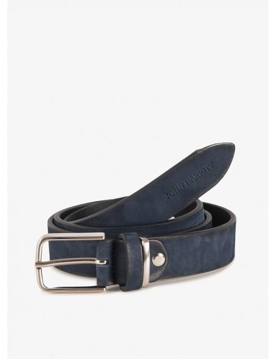 John Barritt man belt, adjustable, height 3 cm, in vintage leather, color blue. Satin nikel metal buckle. Composition 100% lamb leather. Blue
