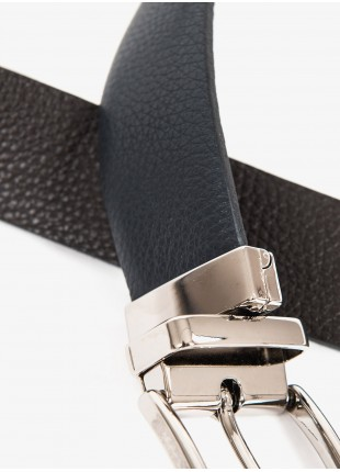 John Barritt man belt, adjustable, height 3,5 cm, double-face, in printed leather, color blue/brown. Satin nikel metal buckle. Composition 100% lamb leather. Blue