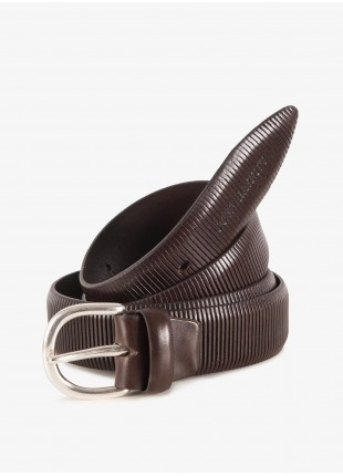 John Barritt man belt, adjustable, height 3,5 cm, in printed leather, color dark brown. Vintage silver metal buckle. Composition 100% lamb leather. Light Brown