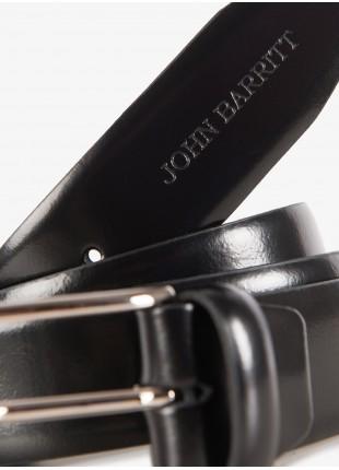 Cintura uomo John Barritt, regolabile, altezza 3,5 cm,  in pelle, colore nero. Fibbia in metallo galvanica nikel lucido. Composizione 100% pelle. Nero