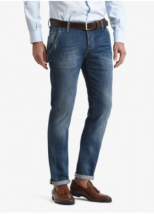 John Barritt man jeans with slant side pockets on front, slim fit, stretch denim fabric 10 oz, color blue stone wash. Composition 99% cotton 1% elastane. Bluette