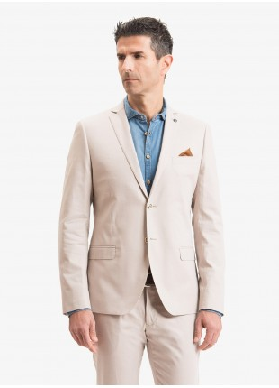 John Barritt man jacket, slim fit, full body lining with shoulder pads, two buttons, double vent, flap pockets, pochette and amf. Cotton stretch fabric. Color beige. Composition 98% cotton 2% elastane. Beige