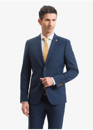 John Barritt man jacket, slim fit, full body lining with shoulder pads, two buttons, double vent, flap pockets, pochette and amf. Polyester/viscose stretch fabric with micro design. Color blue. Composition 76% polyester 22% viscose 2% elastane. Bluette