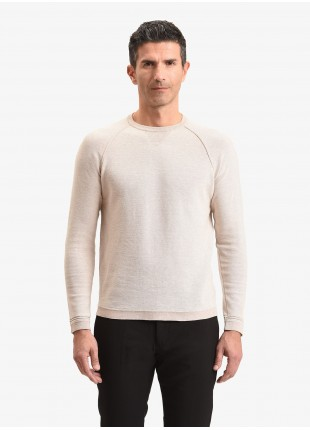 John Barritt man sweater, slim fit, crew neck with little triangle on collar and knitted patches on elbow. Composition 100% cotton. Grey