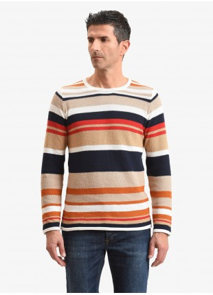 John Barritt man sweater, slim fit, crew neck and striped pattern. Composition 100% cotton. Light Brown