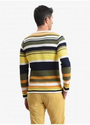 John Barritt man sweater, slim fit, crew neck and striped pattern. Composition 100% cotton. Light Yellow Pastellato