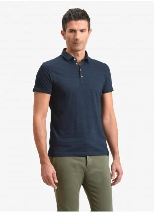 John Barritt man polo shirt, slim fit, cotton jersey fabric, color blue indigo. Composition 100% cotton. Blue