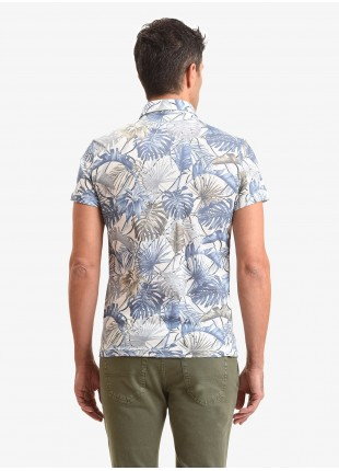 John Barritt man polo shirt, slim fit, cotton jersey fabric with printed tropical pattern. Color light blue. Composition 100% cotton. Blue Paper From Sugar