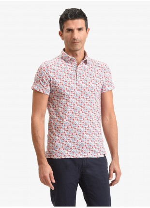 John Barritt man polo shirt, slim fit, cotton jersey fabric with printed flower pattern. Color red. Composition 100% cotton. Red Malboro Classic