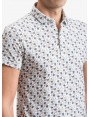John Barritt man polo shirt, slim fit, cotton jersey fabric with printed flower pattern. Color light blue. Composition 100% cotton. Blue