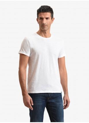 T-shirt uomo John Barritt, vestibilita slim, modello girocollo, tessuto in cotone fiammato, colore bianco. Composizione 100% cotone. White