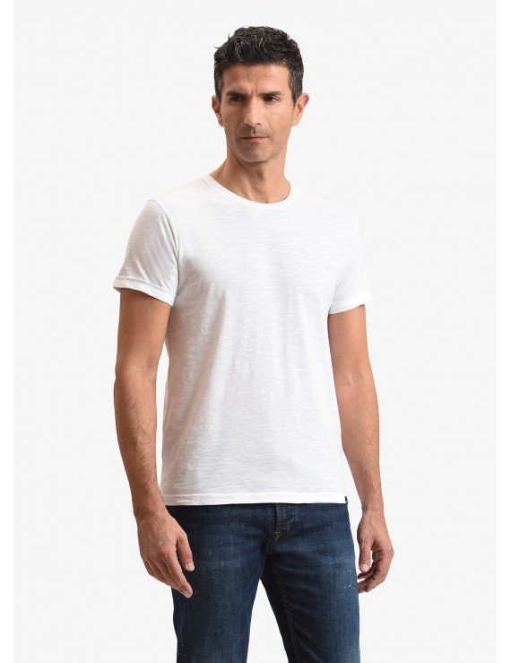John Barritt man t-shirt, slim fit, crew neck, in flamed cotton jersey, color white. Composition 100% cotton. White