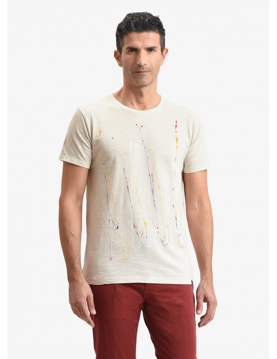 John Barritt man t-shirt, slim fit, crew neck, in flamed cotton jersey with handmade painted details. Color ecru. Composition 100% cotton. Ice