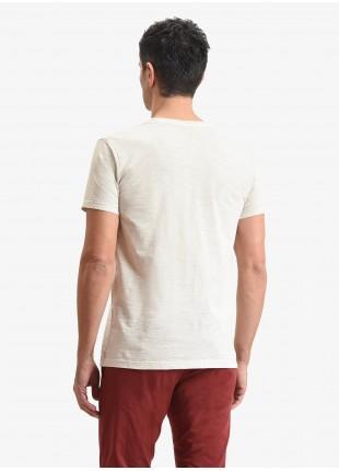 T-shirt uomo John Barritt, vestibilita slim, modello girocollo, tessuto in cotone fiammato con dettagli dipinti a mano. Colore ecru. Composizione 100% cotone. Ghiachio