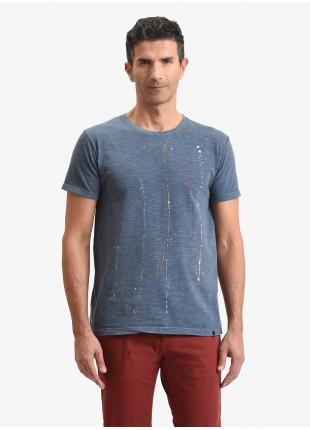 T-shirt uomo John Barritt, vestibilita slim, modello girocollo, tessuto in cotone fiammato con dettagli dipinti a mano. Colore indaco. Composizione 100% cotone. Bluette
