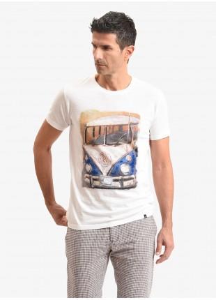 T-shirt uomo John Barritt, vestibilita slim, modello girocollo, tessuto in cotone fiammato con stampa e dettagli dipinti a mano. Colore bianco. Composizione 100% cotone. White