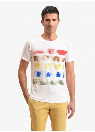 T-shirt uomo John Barritt, vestibilita slim, modello girocollo, tessuto in cotone fiammato con disegno dipinto a mano. Colore bianco. Composizione 100% cotone. White