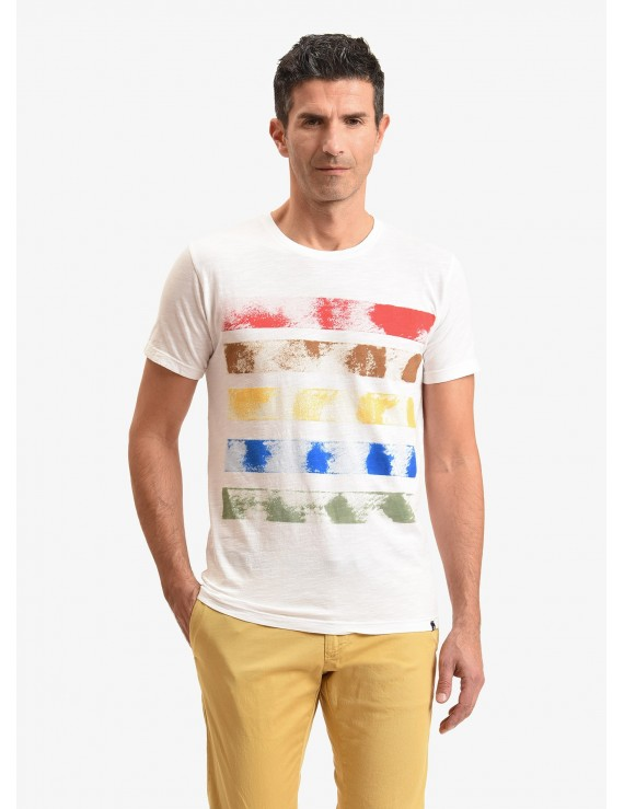 John Barritt man t-shirt, slim fit, crew neck, in flamed cotton jersey with handmade painted design. Color white. Composition 100% cotton. White