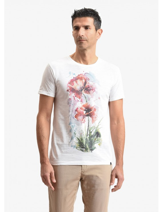 John Barritt man t-shirt, slim fit, crew neck, in flamed cotton jersey with printed design. Color white. Composition 100% cotton. White