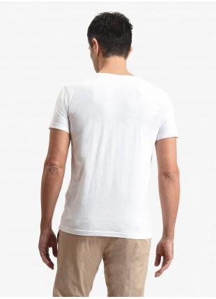 T-shirt uomo John Barritt, vestibilita slim, modello girocollo, tessuto in cotone fiammato con stampa. Colore bianco. Composizione 100% cotone. White