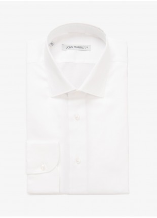 John Barritt man shirt, slim fit, half french collar, oxford cotton fabric, color white. Composition 100% cotton. White