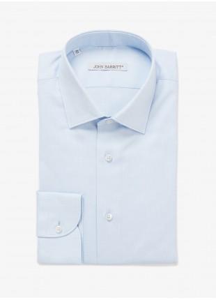 Camicia uomo John Barritt, vestibilita slim, mezzo collo francese, tessuto in cotone oxford, colore azzurro. Composizione 100% cotone Azzurro Carta Da Zucchero