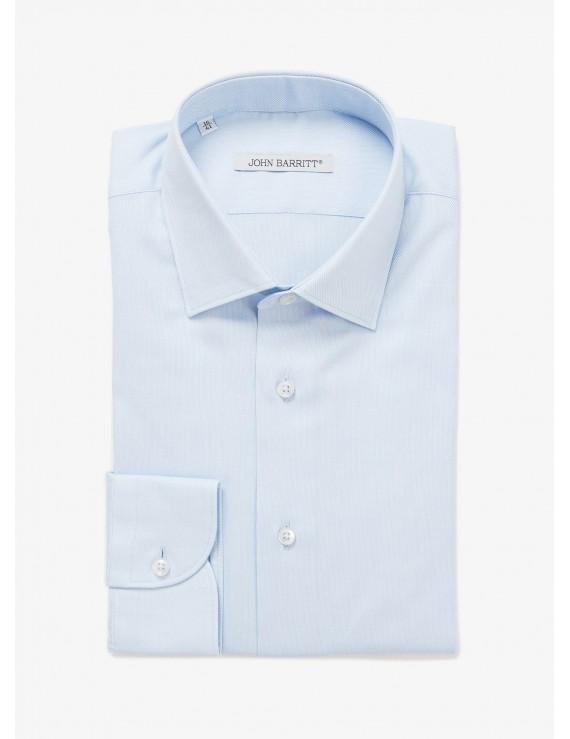 John Barritt man shirt, slim fit, half french collar, oxford cotton fabric, color light blue. Composition 100% cotton. Blue Paper From Sugar