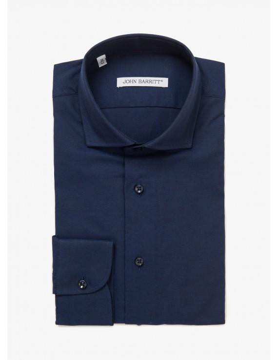 John Barritt man shirt, slim fit, half french collar, oxford cotton fabric, color blue. Composition 100% cotton. Blue