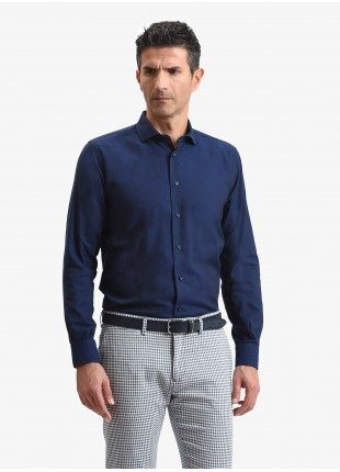 John Barritt man shirt, slim fit, half french collar, oxford cotton fabric, color blue. Composition 100% cotton. Blue