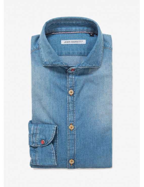 John Barritt man shirt, slim fit, half french collar, chambray cotton fabric, color medium blue jeans with stone wash. Composition 100% cotton. Blue