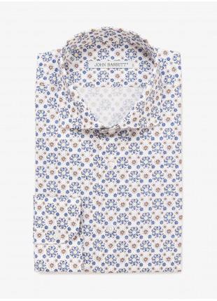 Camicia uomo John Barritt, vestibilita slim, mezzo collo francese, tessuto in cotone stampato con fantasia a fiori. Colore bianco con fantasia blu/marroncino. Composizione 100% cotone. Marrone Bruciato