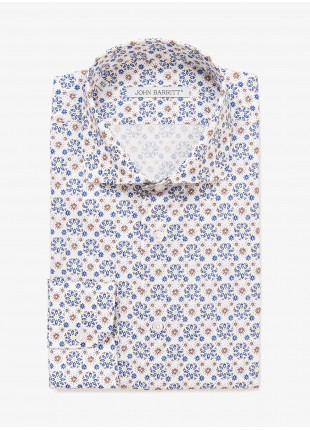 John Barritt man shirt, slim fit, half french collar, printed cotton fabric with floral pattern, color white with blu/brown print. Composition 100% cotton. Burned Brown