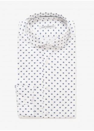 Camicia uomo John Barritt, vestibilita slim, mezzo collo francese, tessuto in cotone stretch con stampa giglio. Colore bianco. Composizione 97% cotone 3% elastan. White