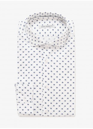 John Barritt man shirt, slim fit, half french collar, stretch cotton fabric with lily printed pattern. Color white. Composition 97% cotton 3% elastane. White