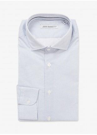 Camicia uomo John Barritt, vestibilita slim, tessuto in cotone stretch stampato con microfantasia. Colore bianco/azzurro. Composizione 97% cotone 3% elastan. Bluette