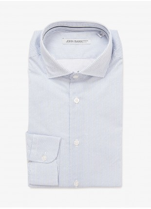 John Barritt man shirt, slim fit, half french collar, stretch cotton fabric with micro print. Color white/light blue. Composition 97% cotton 3% elastane. Bluette