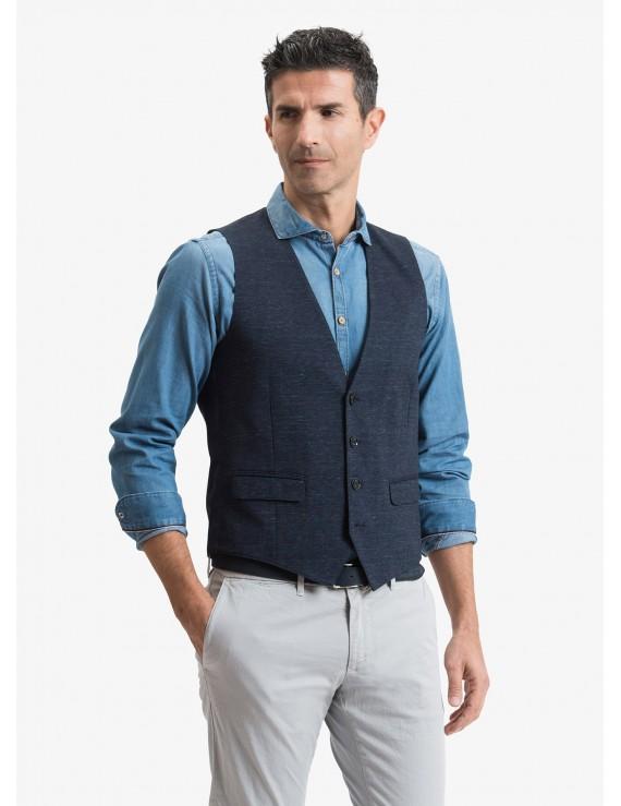 John Barritt man vest, slim fit, flap pockets, cotton jersey fabric. Color blue. Composition 100% cotton. Bluette