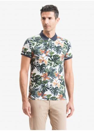 Polo uomo John Barritt, vestibilita slim, tessuto in jersey di cotone con stampa tropical e colletto a contrasto. Composizione 100% cotone. Marrone Bruciato