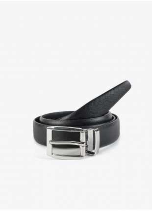 John Barritt man belt, adjustable, height 3 cm, in printed saffiano leather, color black. Shiny nikel metal buckle. Composition 100% lamb leather. Nero