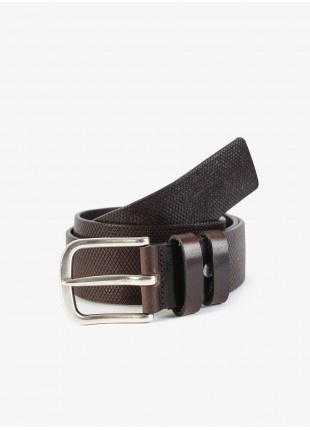 John Barritt man belt, adjustable, height 4 cm, in printed leather, color brown. Old silver metal buckle. Composition 100% lamb leather. Light Brown