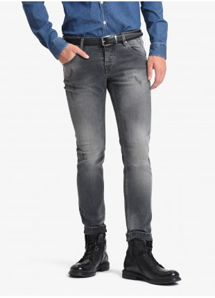 John Barritt man five pockets jeans, slim fit, in stretch denim fabric, color grey stone wash. Composition 99% cotton 1% elastane. Medium Grey Melange